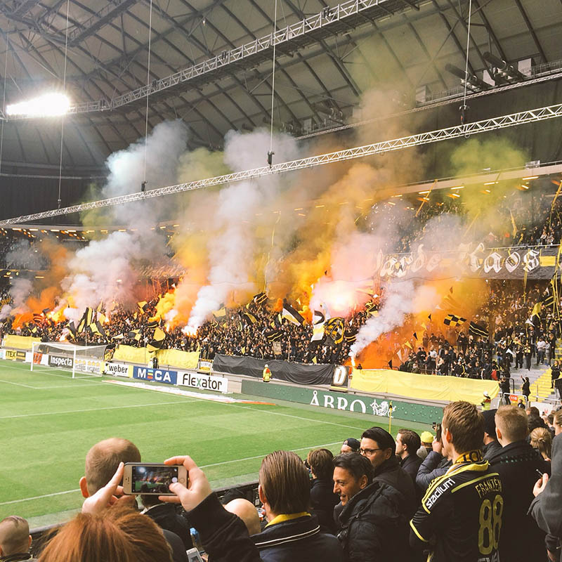AIK supporters at AIK - GIF Sundsvall, April 2016 (@onemalinh on Instagram)