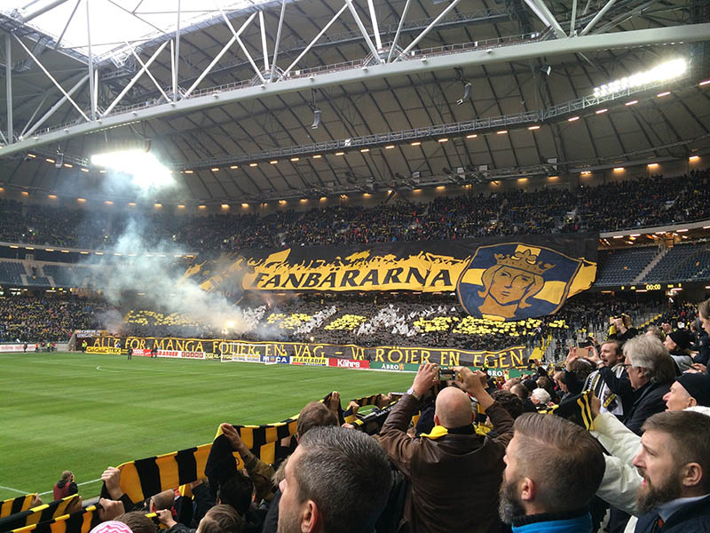 AIK supporters at AIK - Hammarby, March 2015 (@onemalinh on Instagram)