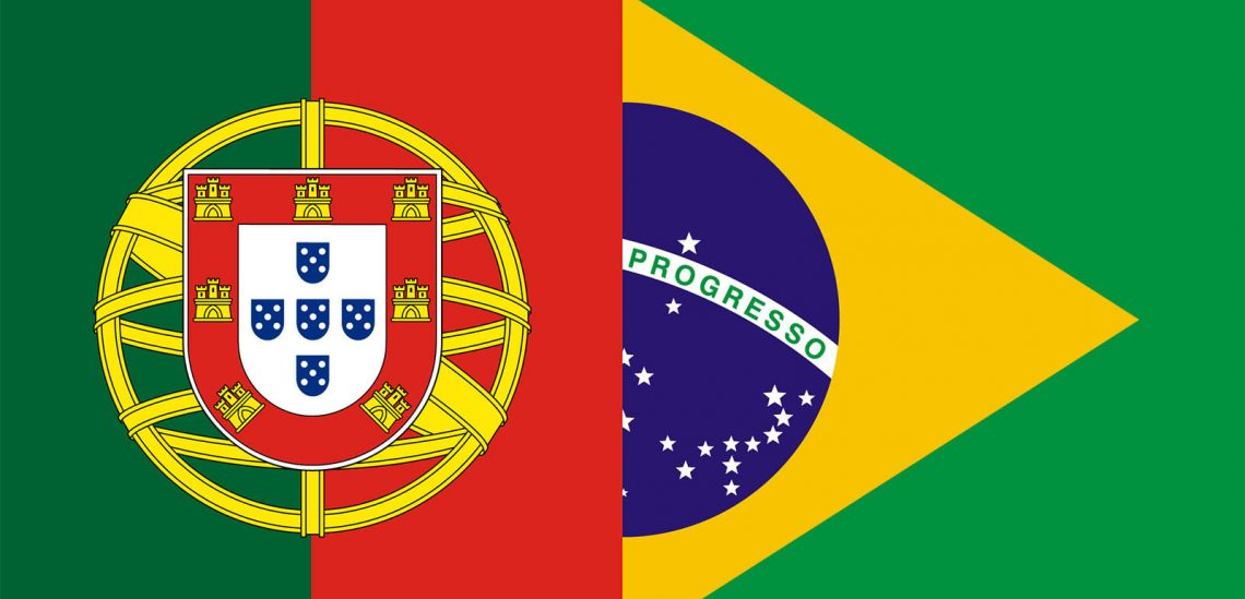 Portugal and Brazil flags